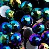 Acrylic Round Flat Back Rhinestones 20mm Black Aurora Borealis 200pcs/bag